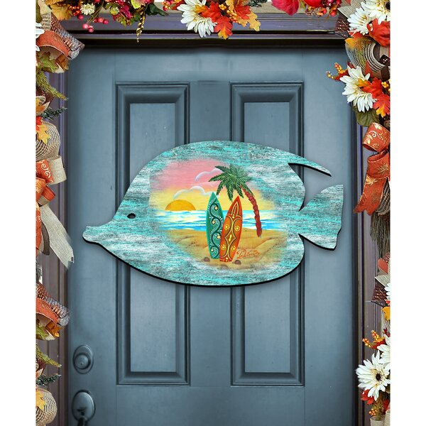Fish Coastal Beach Wooden Decorative Door Hanger Wall Decor