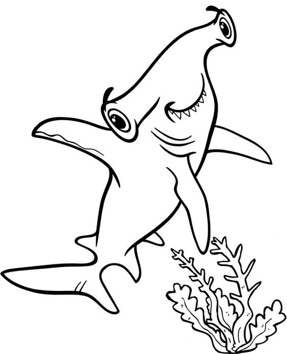 Tranh tô màu con cá mập ngộ nghĩnh vui