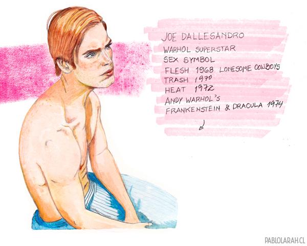 Pablo Lara H, illustration, Joe Dallesandro