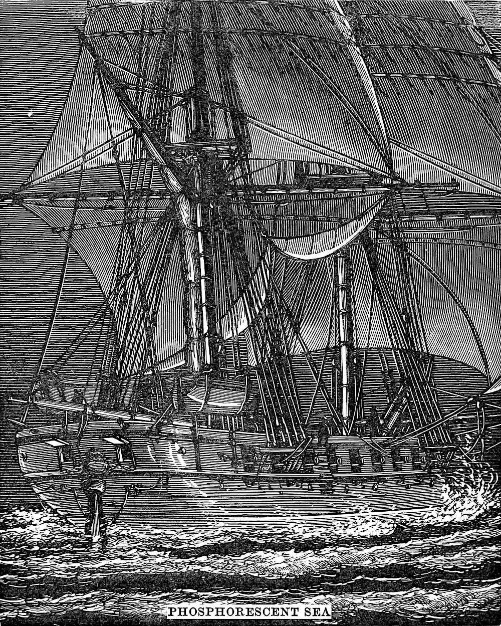 an illustration of a ship in a Phosphorescent Sea at night from an 1876 science book