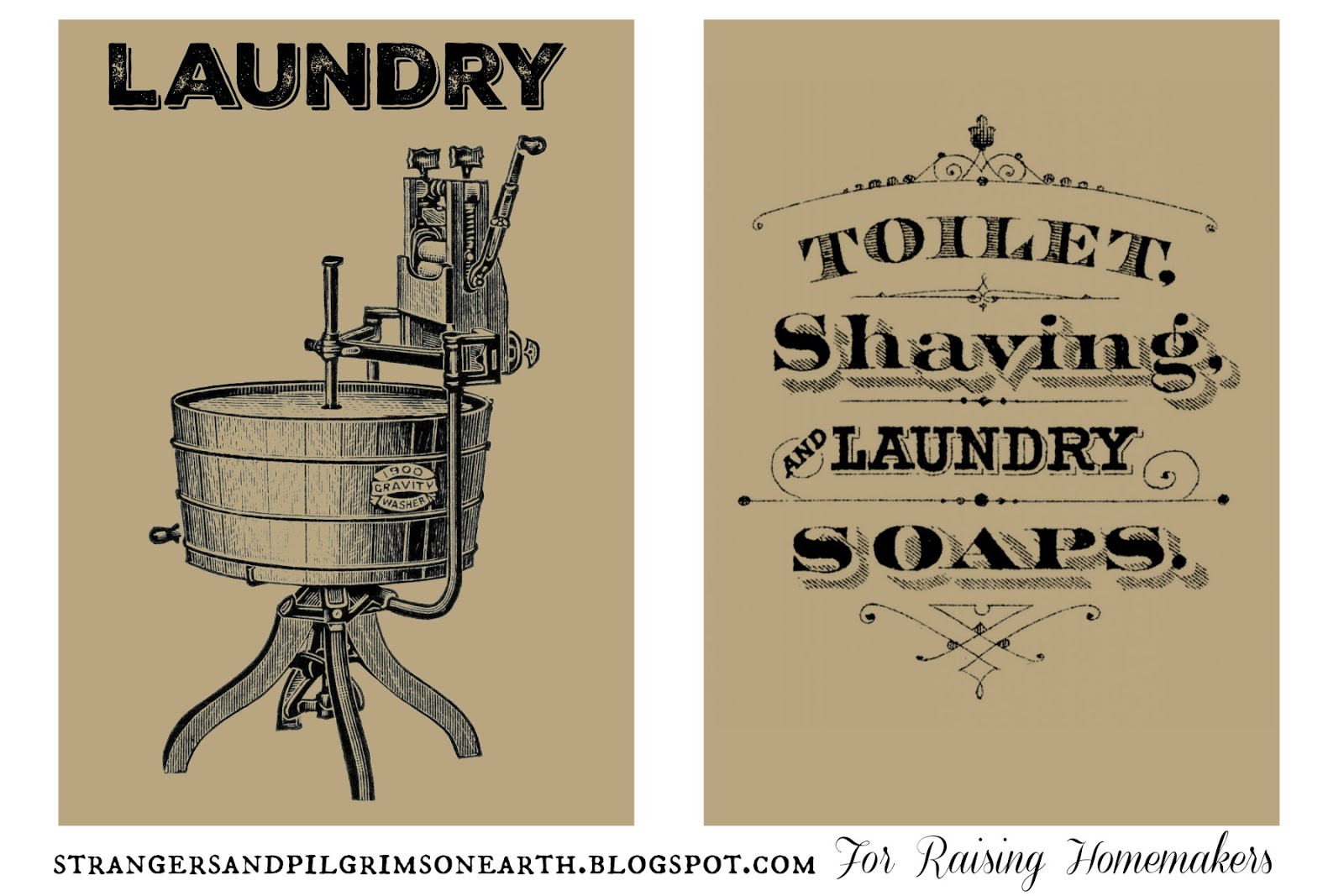 Seven Styles of Laundry Room Art ~ Free Printable Sets