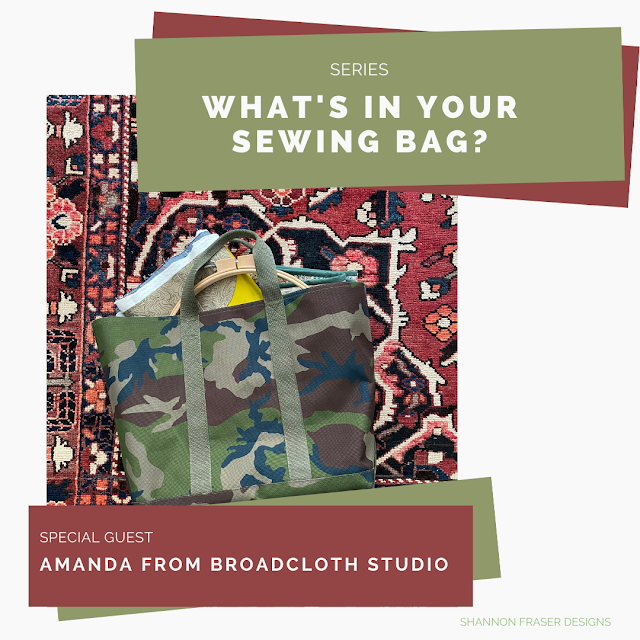 Amanda from Broadcloth Studio's Sewing Bag | What's in Your Sewing Bag? | Shannon Fraser Designs #quilters #sewingbag #sewingkit #travelbag