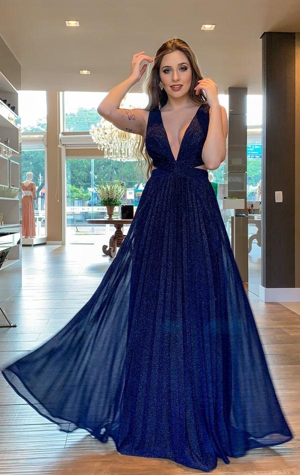 vestido longo azul marinho fluigo tule glitter