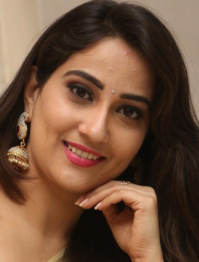 Tollywood TV Anchor Manjusha Long Hair Face Close Up Stills