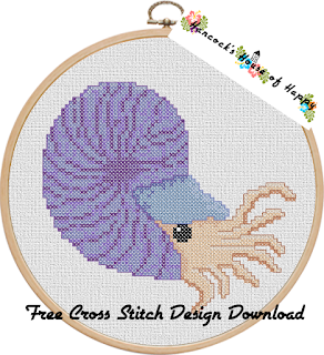 Tentacular Spectacular Week! Groovy Chambered Nautilus Cross Stitch Design to Download for Free
