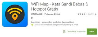 Kita juga dapat membobol password WiFi dengan HP Android menggunakan aplikasi bernama WiFi Map untuk mengetahui jaringan WiFi di sekitarmu.    Untuk langkah-langkah selengkapnya, kamu bisa mengikuti tutorial selengkapnya di bawah ini  Download & Install WiFi Map Setelah selesai di-install, buka aplikasi hack WiFi ini dan setujui Terms of Use dengan ketuk pada tombol I Accept. Pertama kali kamu akan diperkenalkan mengenai fitur dan keunggulan WiFi Map. Kamu bisa melewatinya dengan ketuk pada tombol Next hingga menuju halaman utama. Setelah itu, kamu tinggal aktifkan GPS dengan ketuk Enable Location dan setujui perizinan dengan ketuk Allow. Secara otomatis WiFi Map akan mencari jaringan WiFi di sekitar lokasimu Geser layar ke atas dan temukan jaringan WiFi yang hendak kamu hubungkan. Ketuk salah satu kemudian pilih Unlock Password untuk memunculkan password-nya. Selanjutnya kamu akan diperlihatkan password WiFi yang tersedia. Kamu tinggal copy-paste dan coba hubungkan ke jaringan WiFi dengan cara biasa.