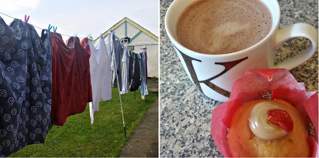 Washing on the line - A hot chocolate and muffin