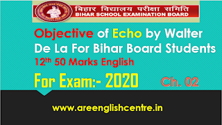 Objective of Echo by Walter De La Mare for BSEB 12th 50 Marks English