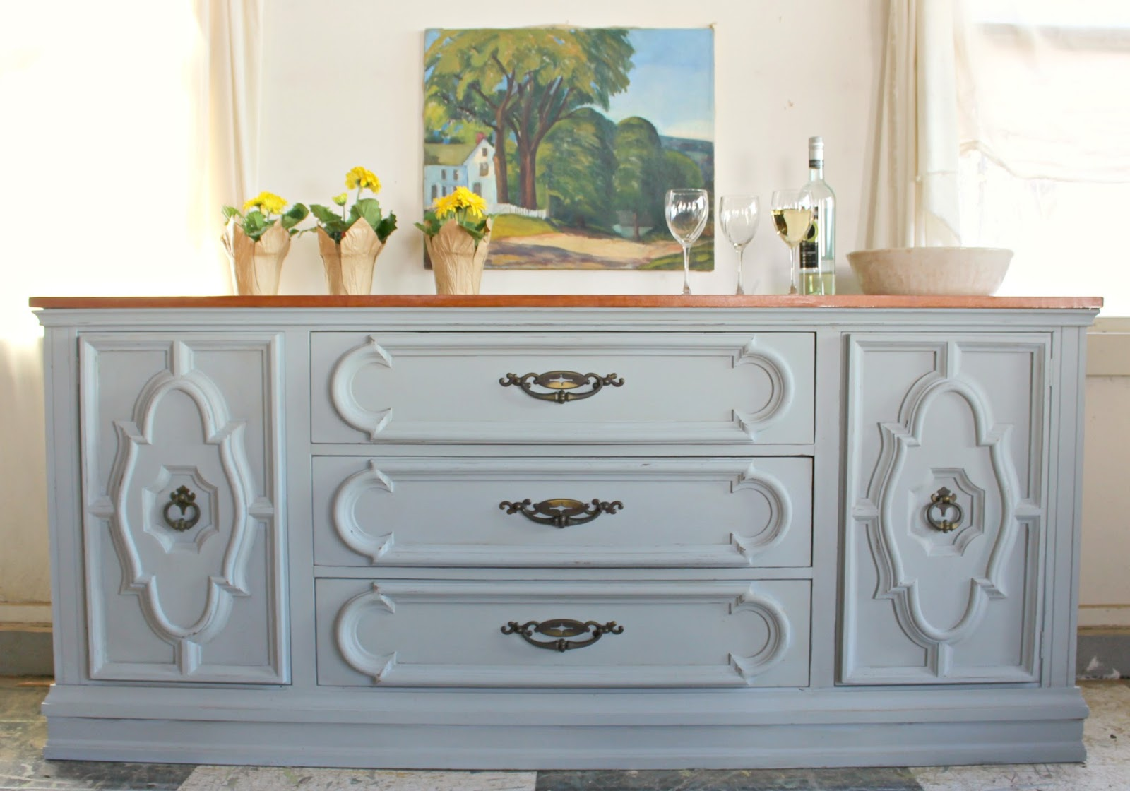 Heir and Space: A Vintage Pecan Sideboard in Gray and Mustard