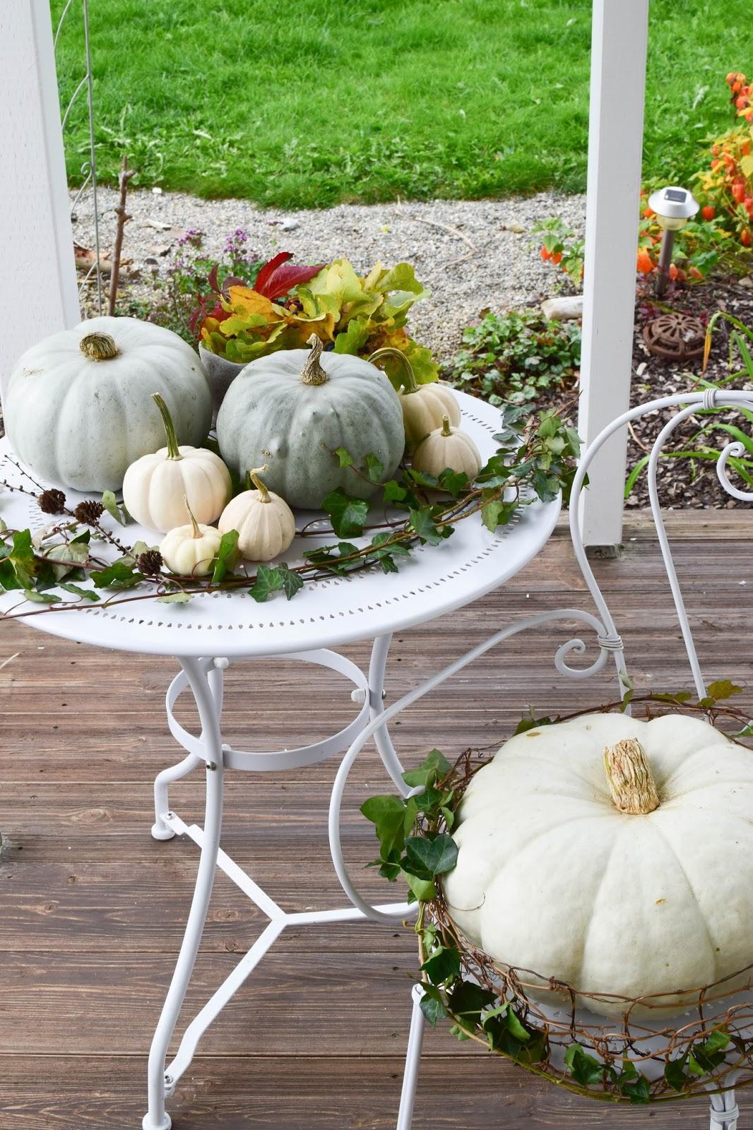 Dekoideen mit Kürbis für den Herbst. Kürbisse natürlich dekorieren. Tischdeko, Tisch dekorieren Herbstdeko, herbstliche Deko, Balkon Garten