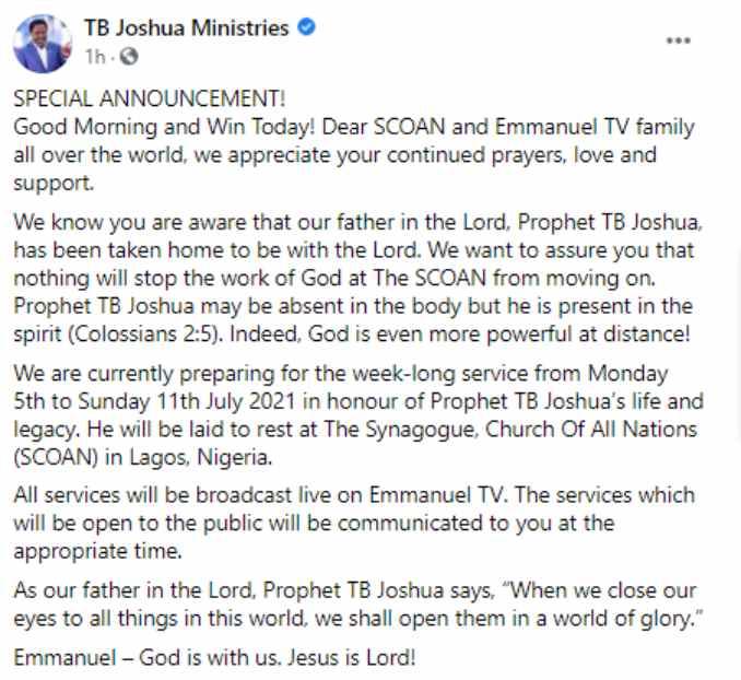 TB Joshua to be buried in Church premises - Church announces