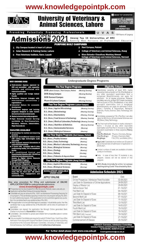 Admission Open UVAS University Lahore 2021- University of Veterinary & Animal Sciences - UVAS Lahore Punjab Undergraduate Program F