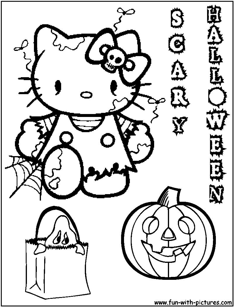 Hello Kitty Halloween Coloring