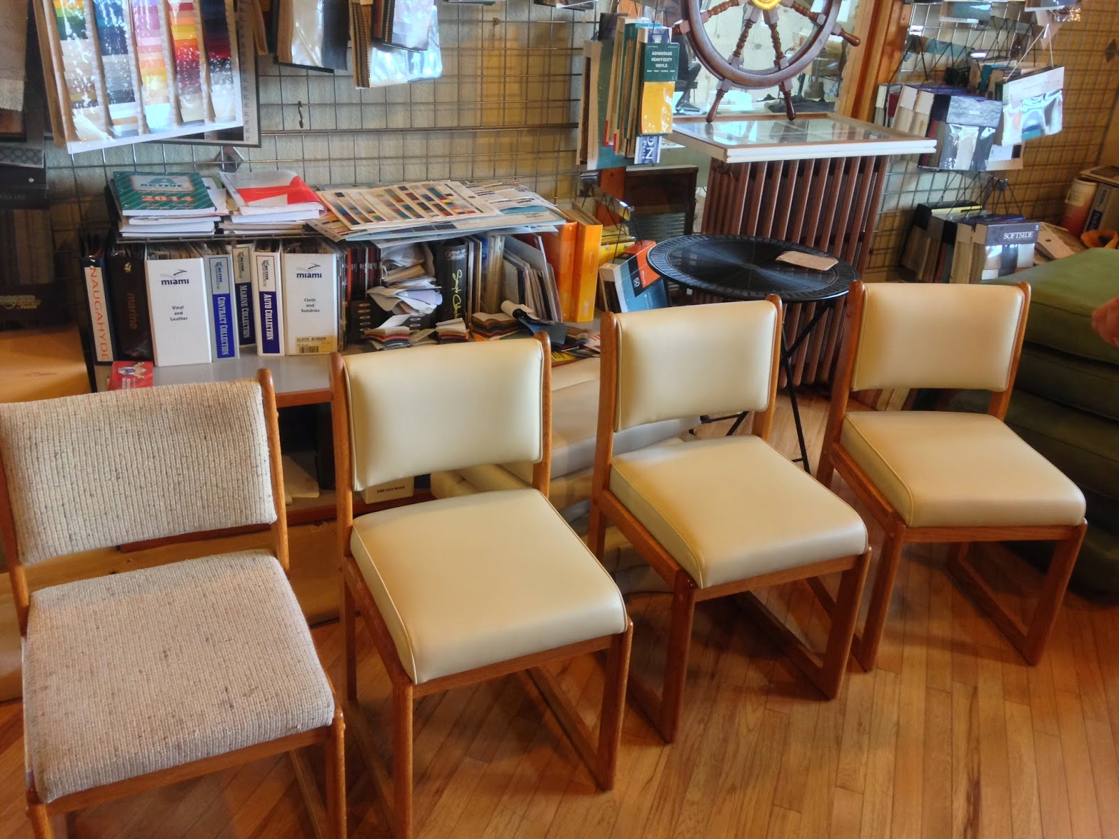 Recovering Chair Cushions Vinyl Pride Lift Chairs Homestyle Custom Upholstery And Awning Before After