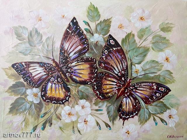 картина 30х40см. Бабочки в листьях и цветах