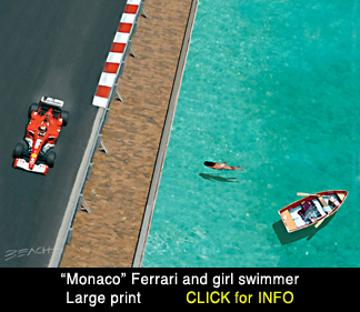 Monaco F1 art print, reproduction for sale, beacham owen, beach