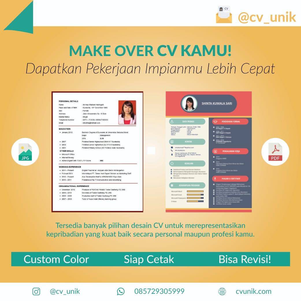 Make Over CV Kamu Dengan CV Unik !