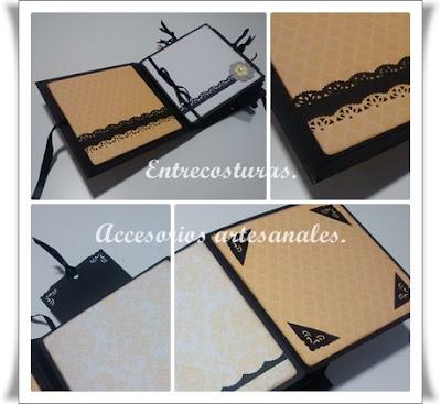 Mini álbum romántico amarillo scrap. Entrecosturas. Accesorios artesanales.