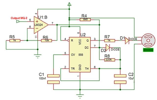 implementasi sensor Gas MQ-2 dengan motor servo