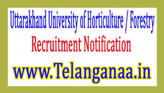 Uttarakhand University of Horticulture / Forestry UUHF Recruitment Notification 2017