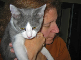 Spackle Puss (the cat) 07 (being held by Leslie 2006)