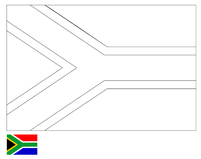 Coloring Page | Flag of South Africa | Drawing | Outline ...