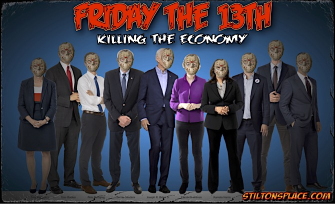 STILTON'S PLACE, STILTON, POLITICAL, HUMOR, CONSERVATIVE, CARTOONS, JOKES, HOPE N' CHANGE, democrat, debate, warren, economy, friday the 13th