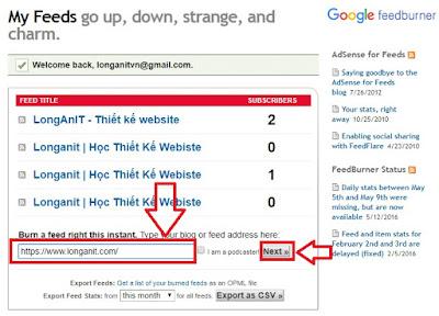 Nhập địa chỉ trang web của bạn tại khung quản lý feed