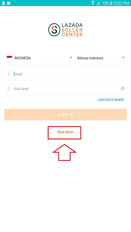Halaman Daftar dan Login Akun Lazada Seller Center di Smartphone.