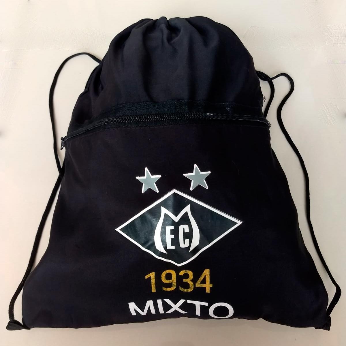 Sacochila do Mixto Esporte Clube, em tecido sintético cor preta