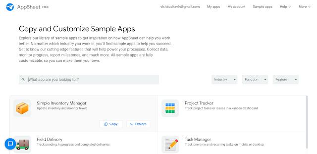 Google AppSheet Sample Apps