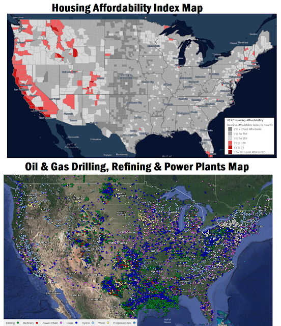 Housing Affordability Index Map vs Oil & Gas Drilling Refining