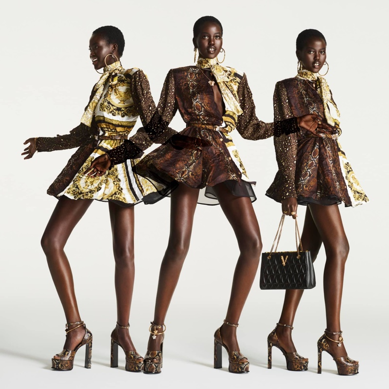 Versace Flash 2021 Campaign featuring Imaan Hammam and Adut Akech