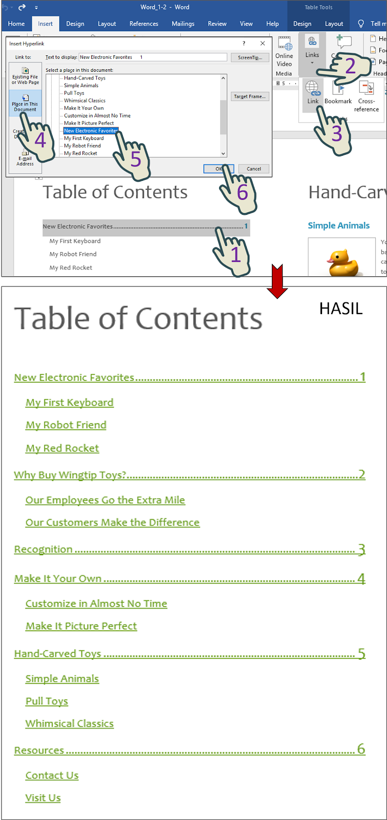 Insert a hyperlink from each heading in the table of contents