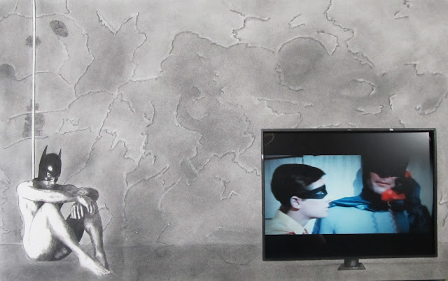 The Batman in The Batcave (Brooding Over Robin)  Charcoal, conte and Embedded Appropriated Video. Circa 2013  Framed to 30x40 inches.