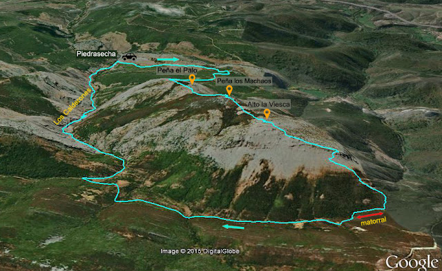 Mapa señalizado de la ruta al Alto la Viesca y Peña los Machaos desde el pueblo leonés de Piedrasecha