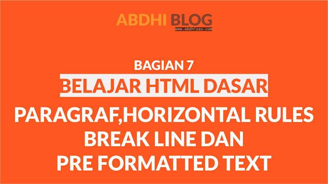 Tag Paragraf Pada HTML - Belajar HTML Dasar 7