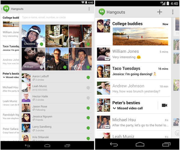 Google Hangouts 2 0 for Android is out with SMS and MMS