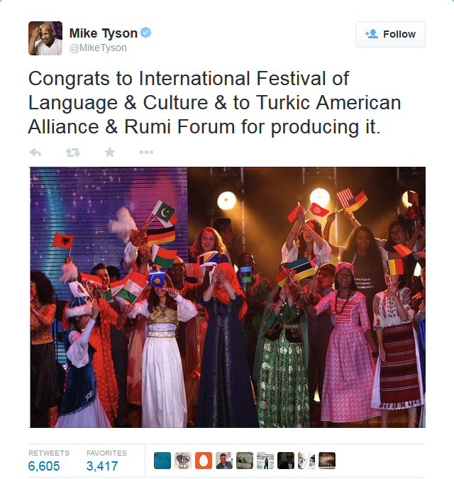 Mike Tyson's tweet on the International Festival of Language and Culture