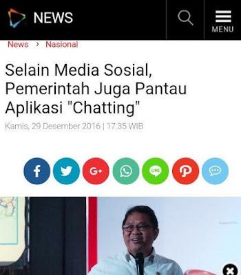Pemerintah Indonesia Awasi Aplikasi Chatting