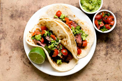 ancho chile and cocoa-rubbed flank steak tacos|Homesick Texan
