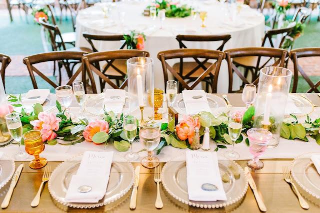 coral color reception table design