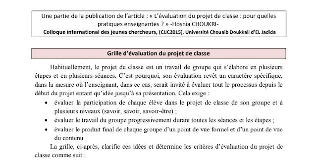 Grille d'évaluation du projet de classe