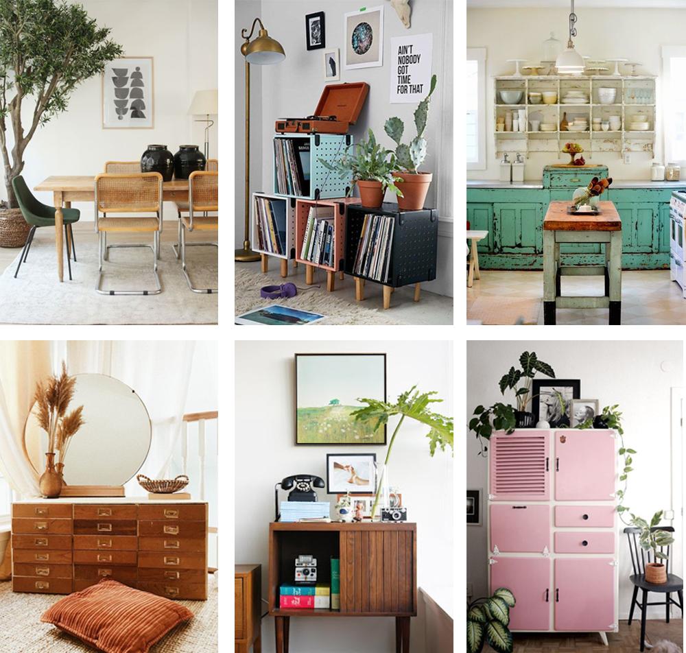 estilo vintage decoración, mobiliario de inspiración