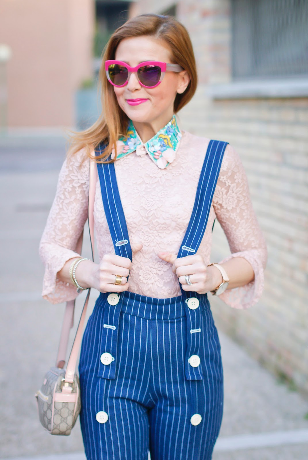 Metisu Pinstripe trousers with braces, blush pink lace top on Fashion and Cookies fashion blog, fashion blogger style