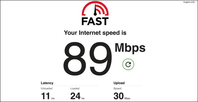 اختبار سرعة اتصال الإنترنت من Netflix.