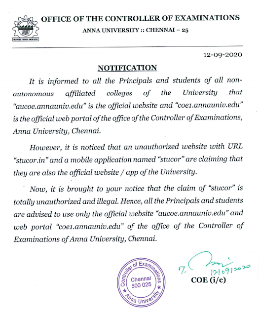 Anna University New Notification Regards Stucor Not Official App