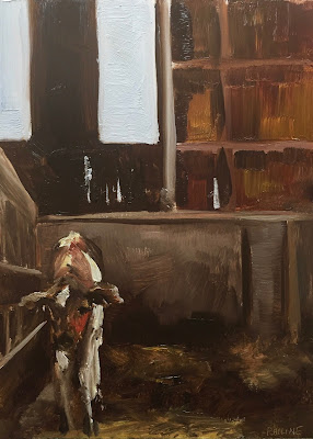 """Waiting"", calf cow painting, oil on panel 13x18cm by Philine van der Vegte"