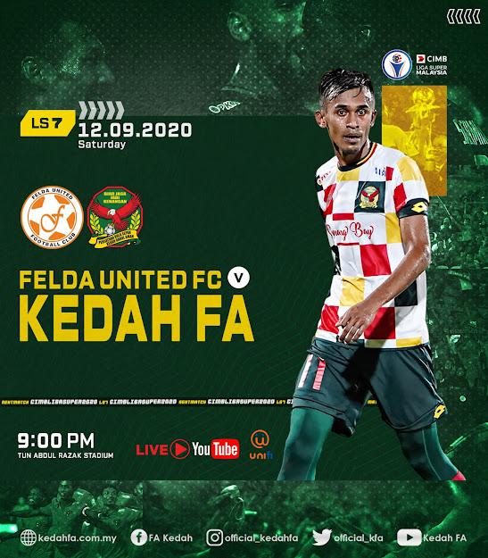 Live Streaming Felda United vs Kedah Liga Super 12.9.2020