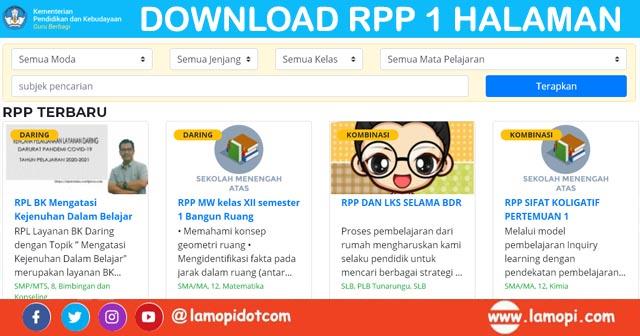 Download Rpp Semua Jenjang 1 Halaman Daring Luring Terbaru Sd Smp Sma Sederajat Semua Mata Pelajaran Lamopi